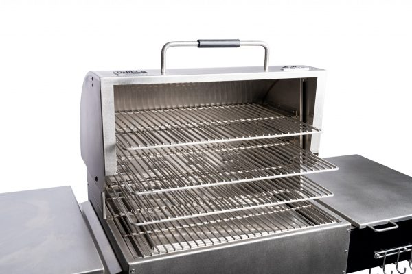 A nice view of the shelves on the Two-Star General Pellet Grill from Mak Grills