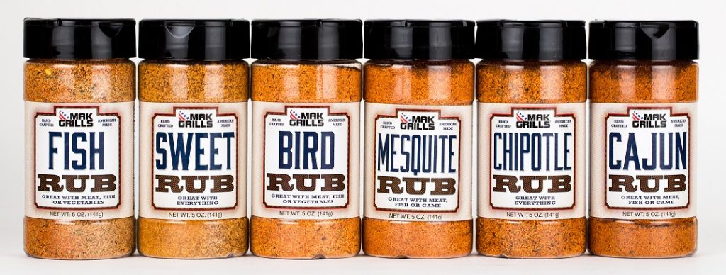 These are the Mak Grills Dry Rubs which include: SWEET RUB, BIRD RUB, MESQUITE RUB, FISH RUB, CAJUN RUB, AND CHIPOTLE RUB