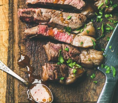Savory Mustard Glazed Strip Steaks Recipe by Mak Grills