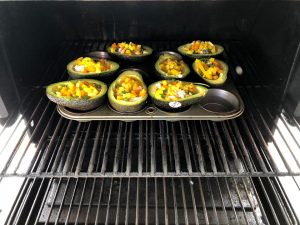 Avocado omelet boats on the grill