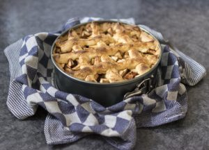 Freshly baked apple pie in blue and white checkered blanket.