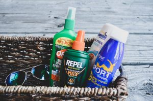 Don't forget the bug repellent when trying to have the best backyard bbq.